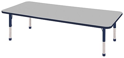"24""x72"" Rectangular T-Mold Activity Table, Grey/Navy/Chunky"