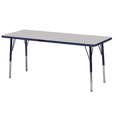 "24""x72"" Rectangular T-Mold Activity Table, Grey/Navy/Standard Swivel"
