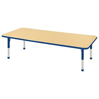 "24""x72"" Rectangular T-Mold Activity Table, Maple/Blue/Chunky"