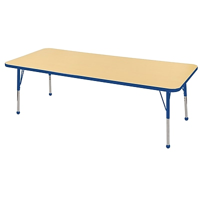 "24""x72"" Rectangular T-Mold Activity Table, Maple/Blue/Standard Ball"