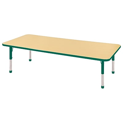 "24""x72"" Rectangular T-Mold Activity Table, Maple/Green/Chunky"