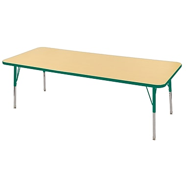 "24""x72"" Rectangular T-Mold Activity Table, Maple/Green/Standard Swivel"