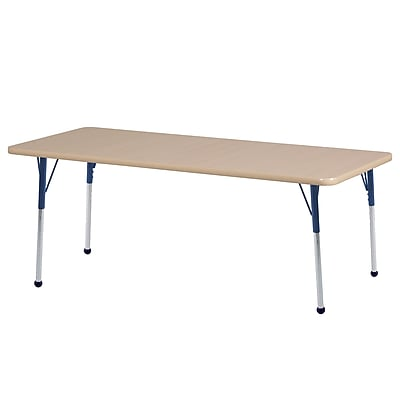"24""x72"" Rectangular T-Mold Activity Table, Maple/Maple/Navy/Toddler Ball"