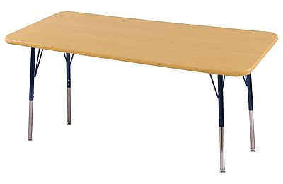 "24""x72"" Rectangular T-Mold Activity Table, Maple/Maple/Navy/Standard Swivel"