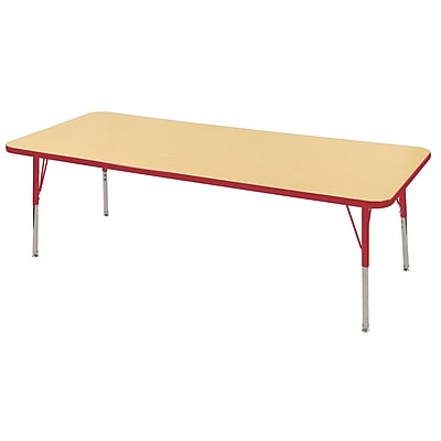 "24""x72"" Rectangular T-Mold Activity Table, Maple/Red/Standard Swivel"