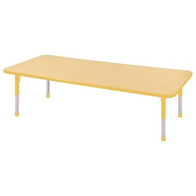 "24""x72"" Rectangular T-Mold Activity Table, Maple/Yellow/Chunky"