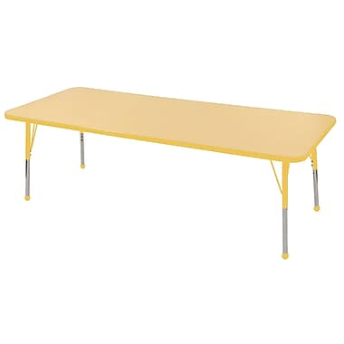 "24""x72"" Rectangular T-Mold Activity Table, Maple/Yellow/Toddler Ball"