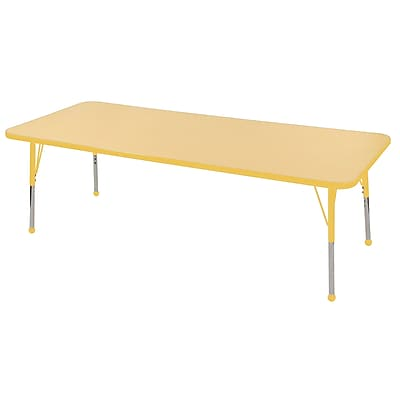"24""x72"" Rectangular T-Mold Activity Table, Maple/Yellow/Standard Ball"