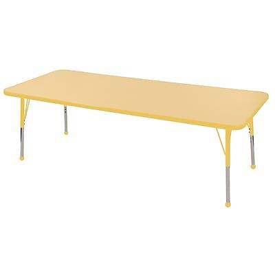 "24""x72"" Rectangular T-Mold Activity Table, Maple/Yellow/Toddler Ball"