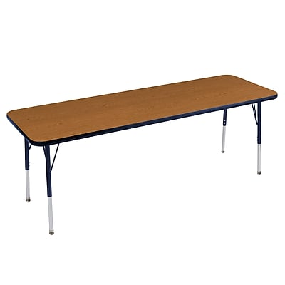 "24""x72"" Rectangular T-Mold Activity Table, Oak/Navy/Standard Swivel"
