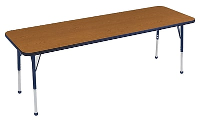 "24""x72"" Rectangular T-Mold Activity Table, Oak/Navy/Toddler Ball"