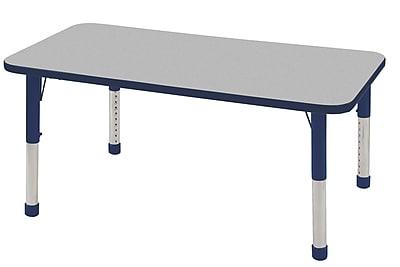 "30""x48"" Rectangular T-Mold Activity Table, Grey/Navy/Chunky"