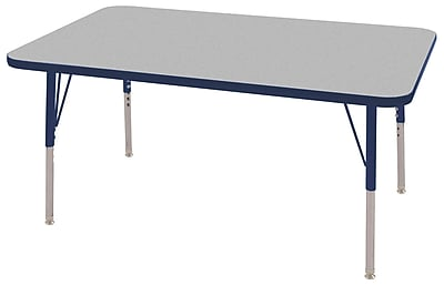 "30""x48"" Rectangular T-Mold Activity Table, Grey/Navy/Toddler Swivel"