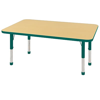"30""x48"" Rectangular T-Mold Activity Table, Maple/Green/Chunky"