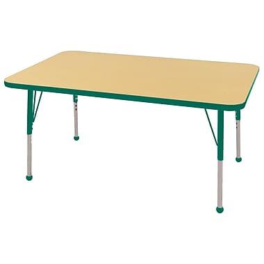 "30""x48"" Rectangular T-Mold Activity Table, Maple/Green/Standard Ball"