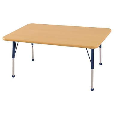 "30""x48"" Rectangular T-Mold Activity Table, Maple/Maple/Navy/Standard Ball"