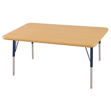 "30""x48"" Rectangular T-Mold Activity Table, Maple/Maple/Navy/Toddler Swivel"