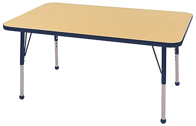"30""x48"" Rectangular T-Mold Activity Table, Maple/Navy/Standard Ball"