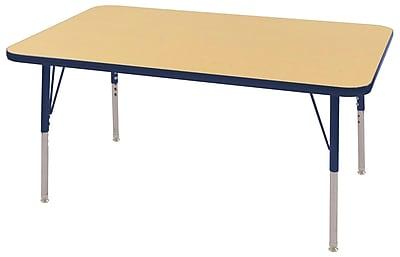 "30""x48"" Rectangular T-Mold Activity Table, Maple/Navy/Standard Swivel"