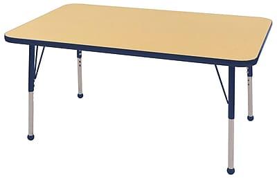 "30""x48"" Rectangular T-Mold Activity Table, Maple/Navy/Toddler Ball"