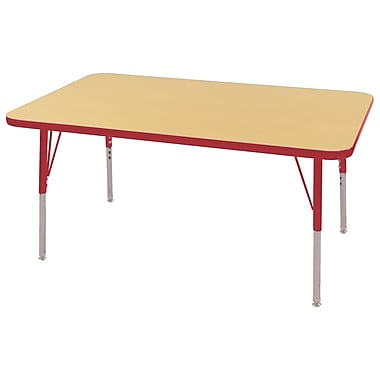 "30""x48"" Rectangular T-Mold Activity Table, Maple/Red/Standard Swivel"