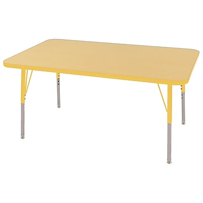 "30""x48"" Rectangular T-Mold Activity Table, Maple/Yellow/Standard Swivel"