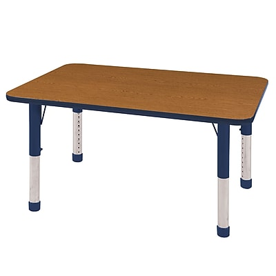 "30""x48"" Rectangular T-Mold Activity Table, Oak/Navy/Chunky"