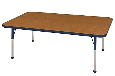 "30""x48"" Rectangular T-Mold Activity Table, Oak/Navy/Toddler Ball"