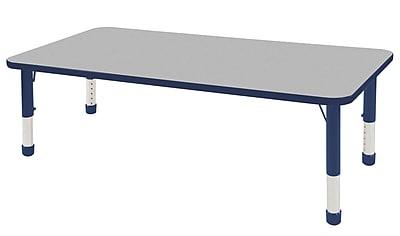 "30""x60"" Rectangular T-Mold Activity Table, Grey/Navy/Chunky"