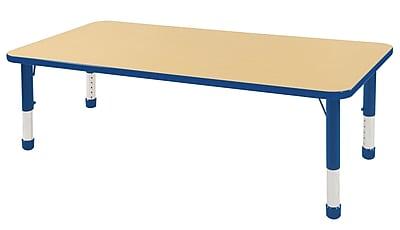 """30""""x60"""" Rectangular T-Mold Activity Table, Maple/Blue/Chunky"""