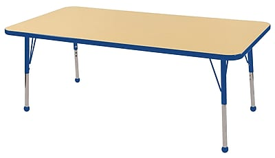 "30""x60"" Rectangular T-Mold Activity Table, Maple/Blue/Standard Ball"
