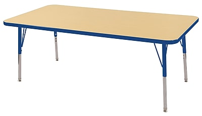 "30""x60"" Rectangular T-Mold Activity Table, Maple/Blue/Toddler Swivel"