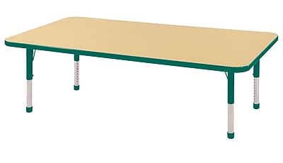 "30""x60"" Rectangular T-Mold Activity Table, Maple/Green/Chunky"