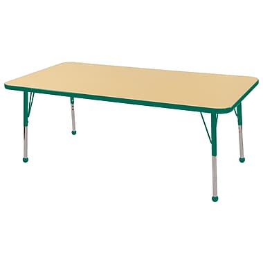 "30""x60"" Rectangular T-Mold Activity Table, Maple/Green/Toddler Ball"