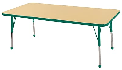 "30""x60"" Rectangular T-Mold Activity Table, Maple/Green/Standard Ball"