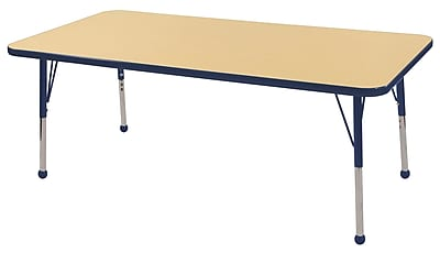 "30""x60"" Rectangular T-Mold Activity Table, Maple/Navy/Standard Ball"