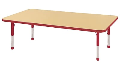 """30""""x60"""" Rectangular T-Mold Activity Table, Maple/Red/Chunky"""