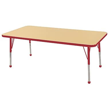 """30""""x60"""" Rectangular T-Mold Activity Table, Maple/Red/Standard Ball"""