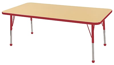 "30""x60"" Rectangular T-Mold Activity Table, Maple/Red/Toddler Ball"