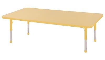 "30""x60"" Rectangular T-Mold Activity Table, Maple/Yellow/Chunky"