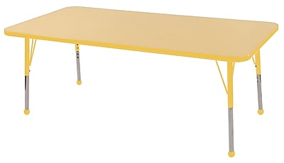 "30""x60"" Rectangular T-Mold Activity Table, Maple/Yellow/Toddler Ball"