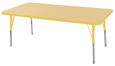 "30""x60"" Rectangular T-Mold Activity Table, Maple/Yellow/Toddler Swivel"