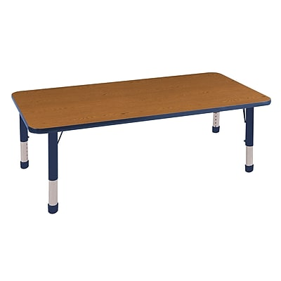 "30""x60"" Rectangular T-Mold Activity Table, Oak/Navy/Chunky"