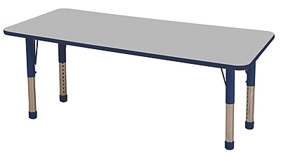 "30""x72"" Rectangular T-Mold Activity Table, Grey/Navy/Chunky"
