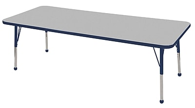 "30""x72"" Rectangular T-Mold Activity Table, Grey/Navy/Toddler Ball"