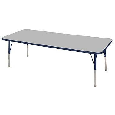 "30""x72"" Rectangular T-Mold Activity Table, Grey/Navy/Toddler Swivel"