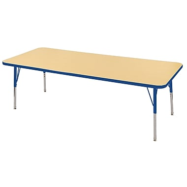 "30""x72"" Rectangular T-Mold Activity Table, Maple/Blue/Standard Swivel"