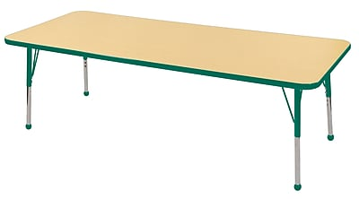 "30""x72"" Rectangular T-Mold Activity Table, Maple/Green/Toddler Ball"