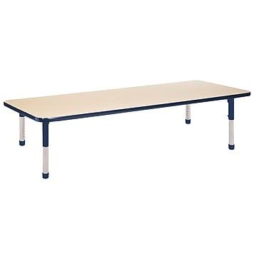 "30""x72"" Rectangular T-Mold Activity Table, Maple/Navy/Chunky"