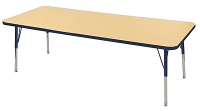 "30""x72"" Rectangular T-Mold Activity Table, Maple/Navy/Standard Swivel"